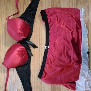 Sexy Satin Santa Clause Bra and Skirt Set